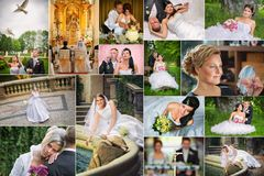 Collage de las fotos de la boda Imagen de archivo
