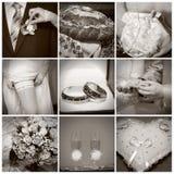 Collage de las fotos de la boda. Sepia Imagen de archivo libre de regalías