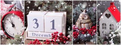 Collage de las fotos de la Navidad o del Año Nuevo Imagenes de archivo