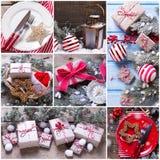 Collage de las fotos de la Navidad y del Año Nuevo Imagen de archivo