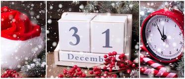Collage de las fotos del Año Nuevo Foto de archivo libre de regalías