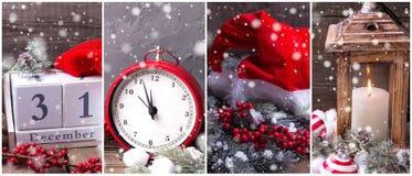 Collage de las fotos del Año Nuevo Imagen de archivo
