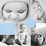 Collage de las fotos del bebé blanco y negro Imagen de archivo