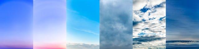 Collage de las fotos del cielo fotos de archivo