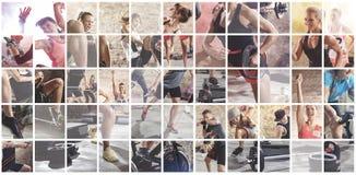 Collage de las fotos del deporte con la gente fotos de archivo libres de regalías