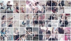 Collage de las fotos del deporte con la gente imagen de archivo libre de regalías