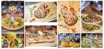 Collage de las fotos de la carne, costillas, ensalada con los camarones Fotos de archivo libres de regalías