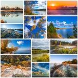 Collage de las fotos de la naturaleza imagenes de archivo
