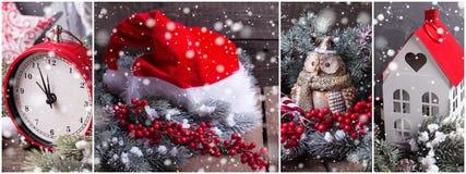 Collage de las fotos de la Navidad o del Año Nuevo Imagen de archivo libre de regalías