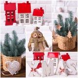 Collage de las fotos de la Navidad y del Año Nuevo Fotos de archivo