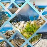 Collage de las fotos turísticas de la isla de Gibraltar británicos foto de archivo