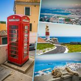 Collage de las fotos turísticas de la isla de Gibraltar británicos fotografía de archivo libre de regalías