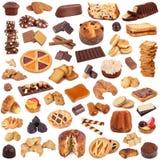 Collage de las galletas en el fondo blanco Fotografía de archivo
