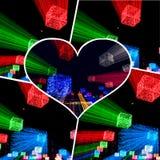 Collage de las imágenes borrosas de la iluminación foto de archivo