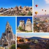 Collage de las imágenes de Cappadocia Turquía Foto de archivo libre de regalías