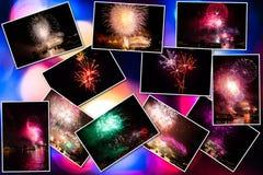 Collage de las imágenes de los fuegos artificiales Foto de archivo