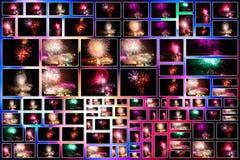 Collage de las imágenes de los fuegos artificiales Imagen de archivo libre de regalías