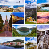 Collage de las imágenes del viaje de Noruega (mis fotos) fotos de archivo