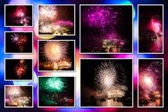 Collage de las imágenes de los fuegos artificiales Fotografía de archivo