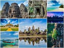 Collage de las imágenes del viaje de Camboya Foto de archivo