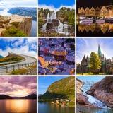 Collage de las imágenes del viaje de Noruega (mis fotos) Fotos de archivo libres de regalías