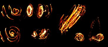 Collage de las llamas del fuego en negro Foto de archivo libre de regalías