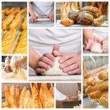 Collage de las manos del panadero con un pan fotografía de archivo