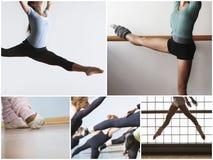 Collage de las mujeres del ajuste que practican danza del ballet Foto de archivo libre de regalías