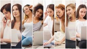 Collage de las mujeres diversas que hablan en móvil imagenes de archivo