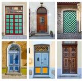 Collage de las puertas ornamentales exteriores foto de archivo