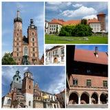Collage de las señales famosas de Kraków, enumerado como herencia de la UNESCO Imagen de archivo libre de regalías