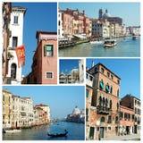 Collage de las señales famosas viejas de Venecia (Italia) para su viaje d Imagenes de archivo