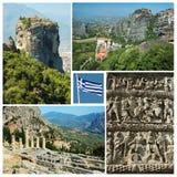 Collage de las señales griegas famosas - Delphi, Meteora, etc Foto de archivo