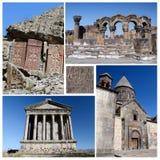 Collage de las señales turísticas populares de Armenia, herencia de la UNESCO Imagen de archivo