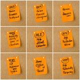 Collage de las siglas del negocio escritas en la nota de papel Fotos de archivo