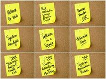 Collage de las siglas del negocio escritas en la nota de papel Foto de archivo