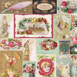 Collage de las tarjetas de comercio antiguas del victorian con las flores y las hadas Imagen de archivo libre de regalías