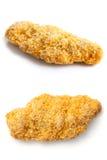 Collage de las tiras desmenuzadas pan congelado del pollo Imagenes de archivo