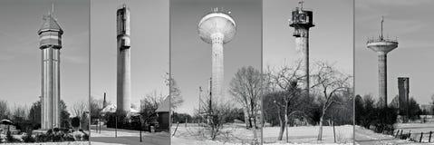 Collage de las torres de agua fotografía de archivo