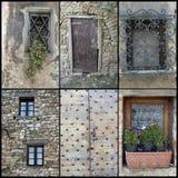 Collage de las ventanas de las puertas Imagenes de archivo
