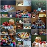 Collage de lifes inmóviles por un día de fiesta Pascua Fotografía de archivo libre de regalías