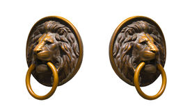 Collage de Lion Medalions d'or et en bronze d'isolement dans différents angles Photos libres de droits