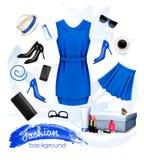 Collage de los accesorios de la hembra de la moda Fotos de archivo libres de regalías