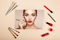 Collage de los accesorios de la señora de la moda fotografía de archivo