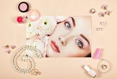 Collage de los accesorios de la señora de la moda fotos de archivo libres de regalías
