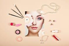 Collage de los accesorios de la señora de la moda imagen de archivo