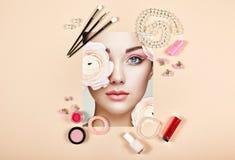 Collage de los accesorios de la señora de la moda fotos de archivo