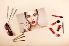 Collage de los accesorios de la señora de la moda foto de archivo libre de regalías
