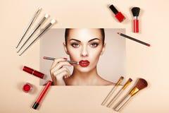 Collage de los accesorios de la señora de la moda Imágenes de archivo libres de regalías