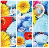 Collage de los accesorios del balneario Imagen de archivo libre de regalías